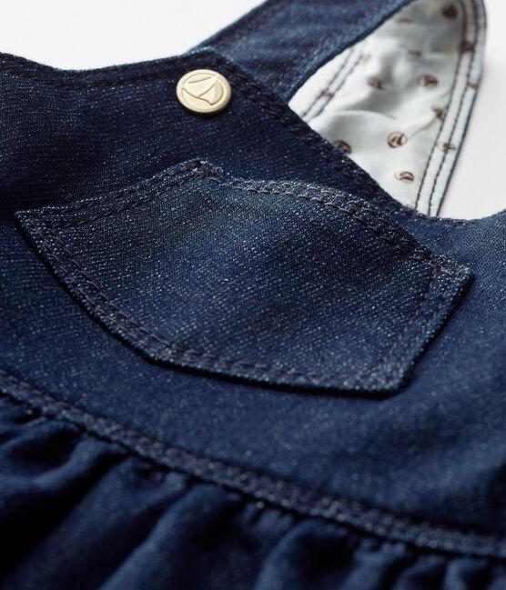 Vestido peto de tela efecto vaquero para bebé niña azul Jean