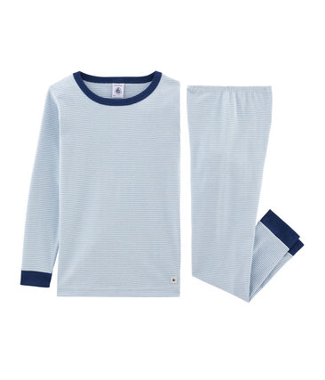 Pijama de corte muy ajustado de punto para niño azul Acier / blanco Marshmallow