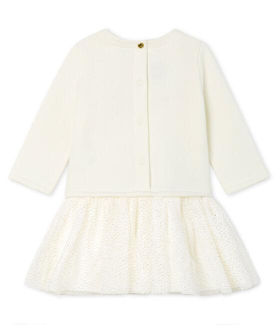 Vestido bimaterial de manga larga para bebé niña blanco Marshmallow