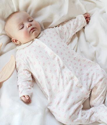Pelele de tejido túbico para bebé niña blanco Marshmallow / rosa Gretel