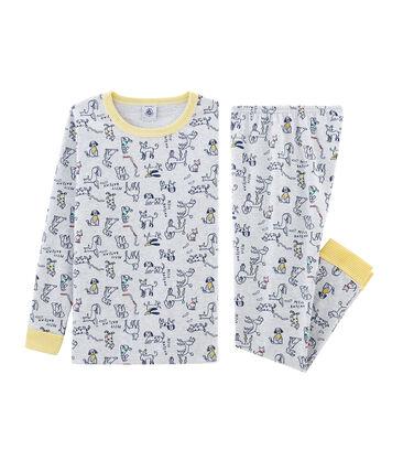 Pijama de corte muy ajustado de punto para niño gris Poussiere / blanco Multico