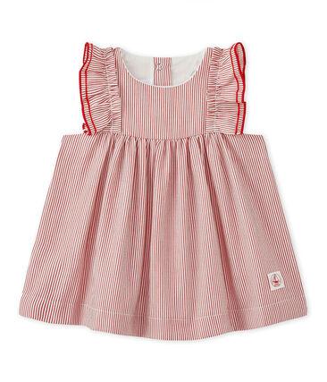 Vestido para bebé en popelina a rayas