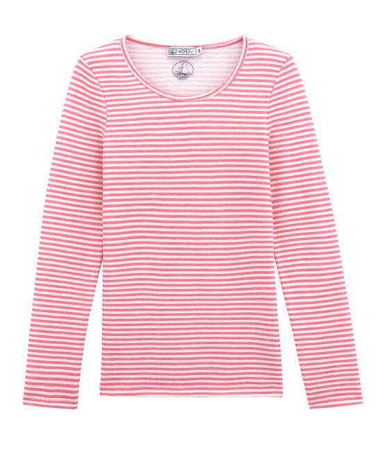 Camiseta de manga larga de algodón y lana para mujer rosa Cheek / blanco Marshmallow
