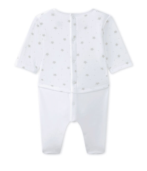 Pelele blusa bebé mixto bi-materia blanco Ecume / marrón Shitake