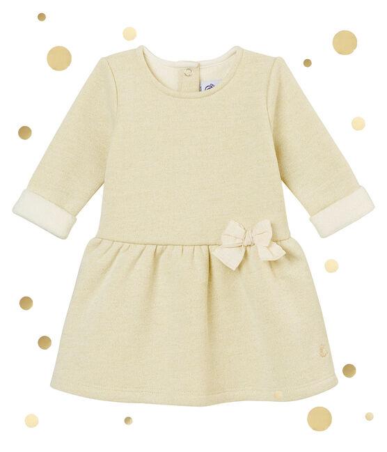 Vestido en muletón brilantes para bebé niña blanco Marshmallow / amarillo Dore