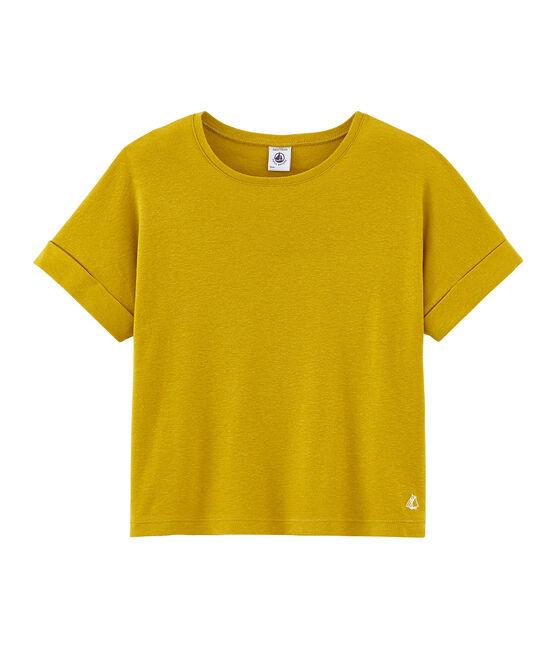Camiseta manga corta infantil para niña amarillo Bamboo