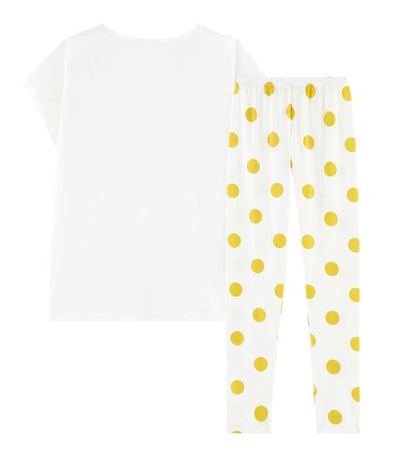 Pijama de punto para chica blanco Marshmallow / amarillo Ble