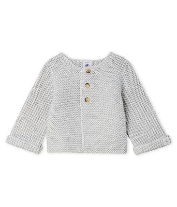 Cárdigan de lana y algodón de punto musgo para bebé niña gris Beluga