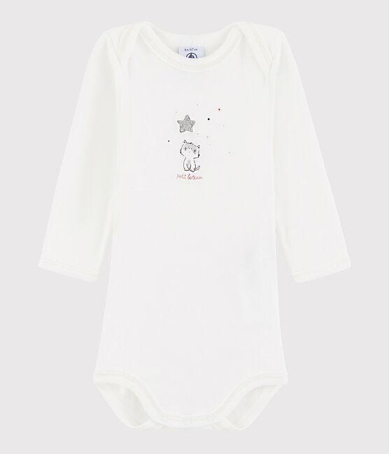 Bodi de manga larga de bebé niño blanco Marshmallow