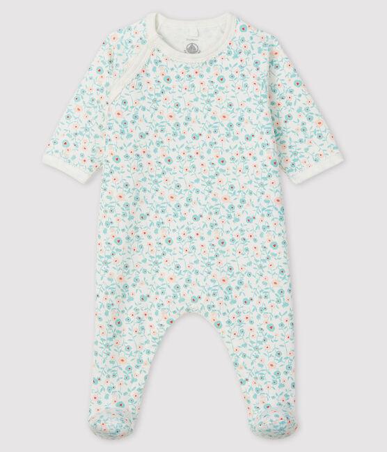 Pijama de muletón con estampado de flores para bebé blanco Marshmallow / blanco Multico