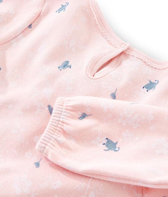 Camisón de manga larga estampado de pingüinos para niña de punto doble cara rosa Minois / blanco Multico