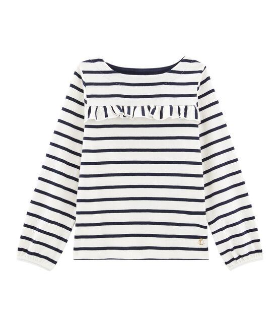 Camiseta de niña beige Coquille / azul Smoking