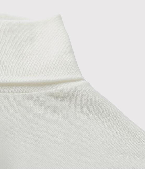 Camiseta de cuello alto emblemática de algodón de mujer blanco Ecume