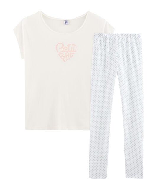Pijama de punto para niña blanco Marshmallow / azul Jasmin