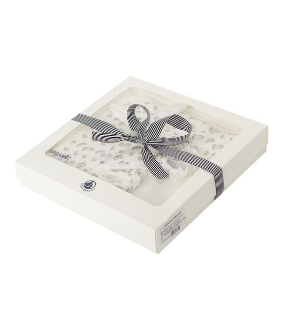 Estuche con toalla cuadrada de baño y patucos para bebé de BE y punto. blanco Marshmallow / gris Sculpture
