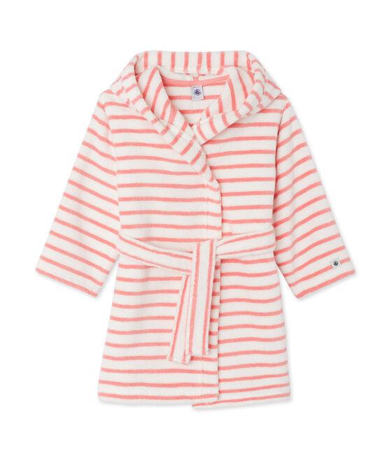 Albornoz de toalla de rizo blanco Lait / rosa Merveille