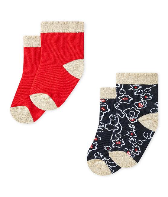 Lote de 2 pares de calcetines bebé niña lote .