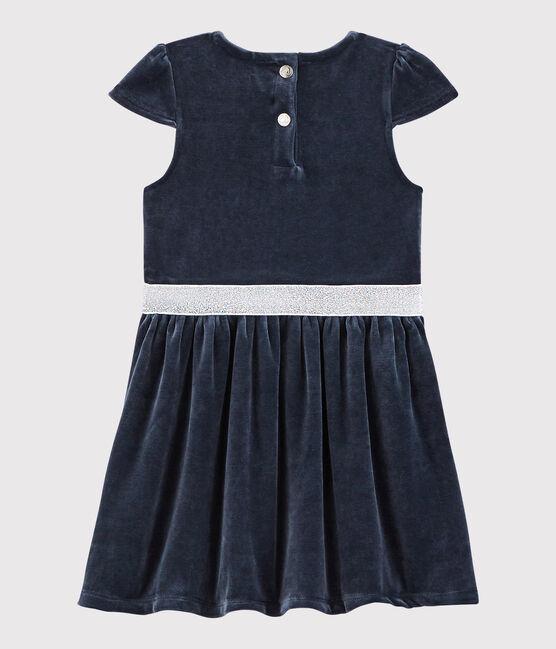 Vestido de manga corta para niña azul Smoking