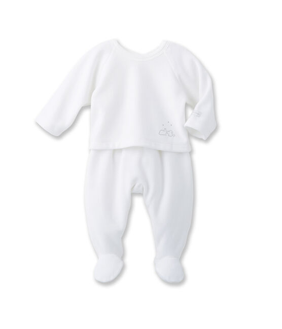 Unisex baby top and trouser set blanco Ecume / gris Gris
