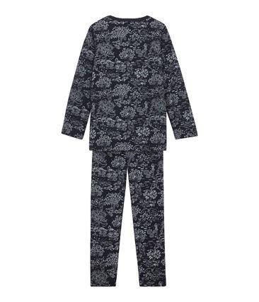 Pijama para niña azul Smoking / blanco Ecume