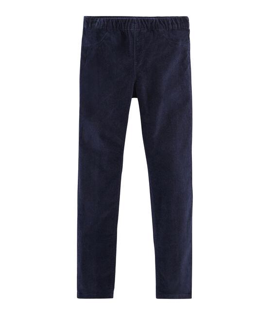 Pantalón de terciopelo slim para niña azul Smoking