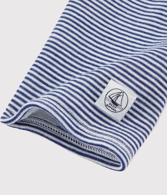Leggings infantiles mil rayas de lana y algodón azul Medieval / blanco Marshmallow
