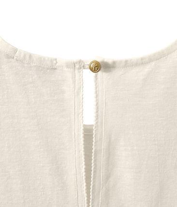 Camiseta sin mangas de lino para mujer blanco Lait