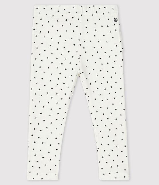 «Leggings» estampados para bebé niña blanco Marshmallow / azul Smoking