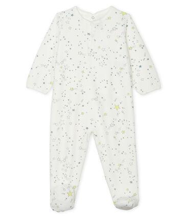 Pijama de terciopelo para bebé de niño blanco Marshmallow / blanco Multico
