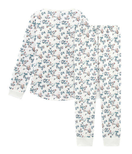 Pijama de algodón infantil para niña blanco Marshmallow / blanco Multico