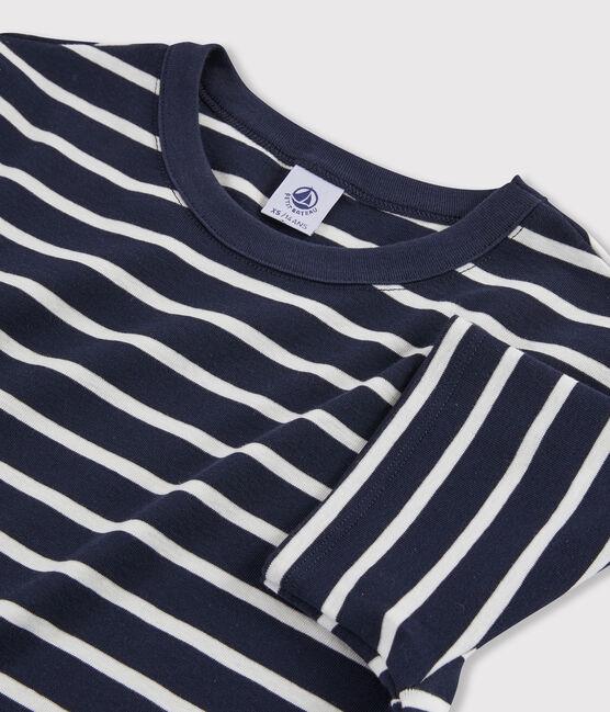 Camiseta icónica con cuello redondo para mujer azul Smoking / blanco Marshmallow