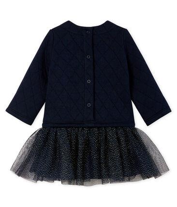 Vestido bimaterial de manga larga para bebé niña azul Smoking