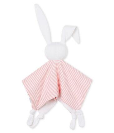 Peluche de conejo para bebé de punto rosa Charme / blanco Marshmallow