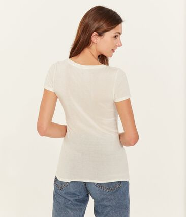 camiseta de manga corta con cuello en v de mujer blanco Marshmallow