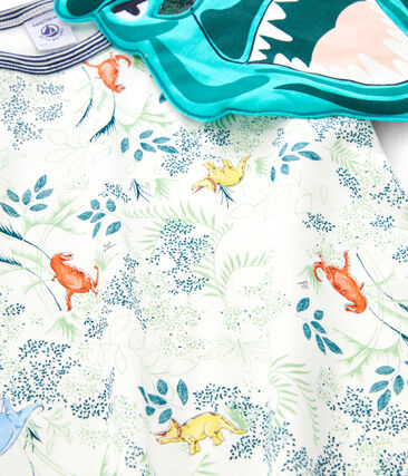 Pijama corto de punto para niño con máscara blanco Marshmallow / blanco Multico