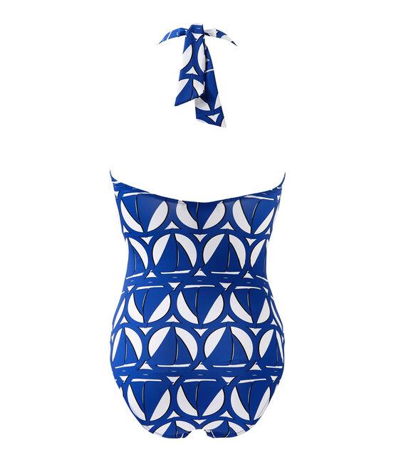 Bañador estampado de 1 pieza para mujer blanco Marshmallow / azul Perse