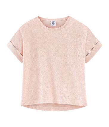Camiseta manga corta infantil para niña rosa Pearl / rosa Copper