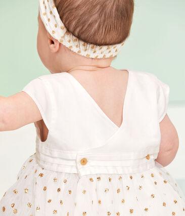 Vestido para bebé niña blanco Marshmallow / amarillo Or