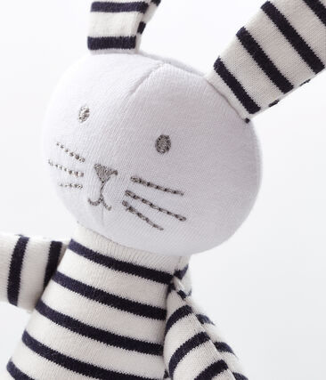 Peluche de conejo para bebé de jersey blanco Marshmallow / azul Smoking
