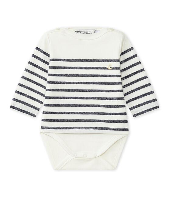 Bodi marinero de manga larga para niña blanco Marshmallow / azul Smoking