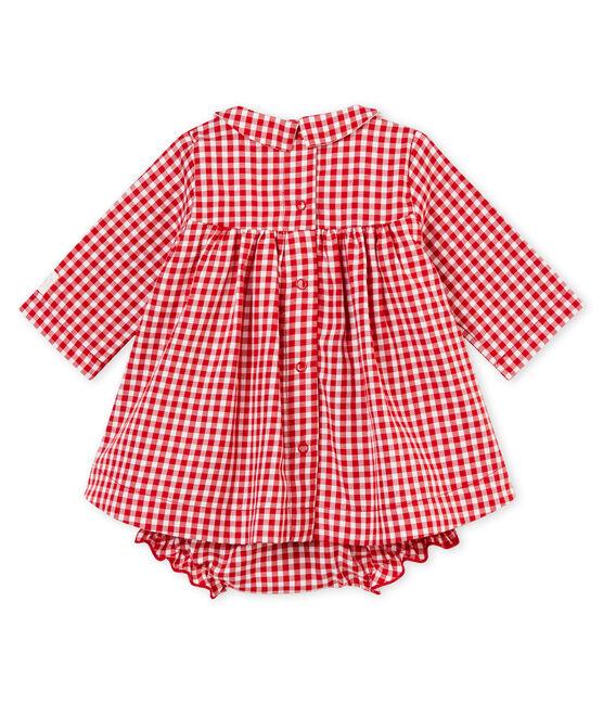 Vestido de manga larga y braguita bloomer vichy rojo Terkuit / blanco Marshmallow