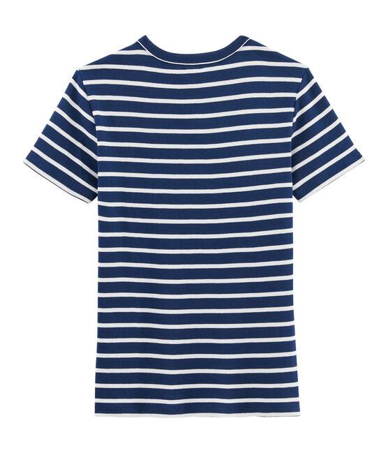 Camiseta icónica para mujer azul Medieval / blanco Marshmallow