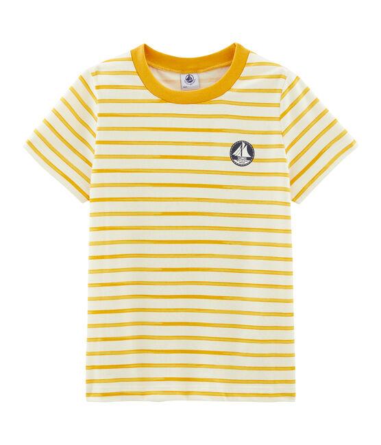 Camiseta de manga corta para niño beige Coquille / amarillo Boudor