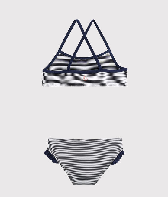 Traje de baño de dos piezas para niña azul Abysse / blanco Lait