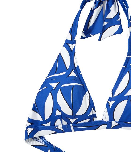 Bañador estampado de 2 piezas para mujer blanco Marshmallow / azul Perse