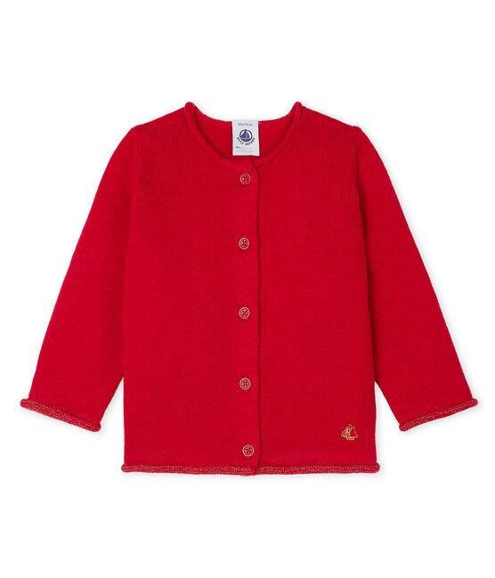Cárdigan básica de punto de lana y algodón para bebé niña rojo Terkuit