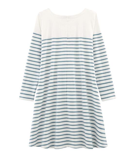 Vestido manga larga para mujer blanco Marshmallow / azul Fontaine