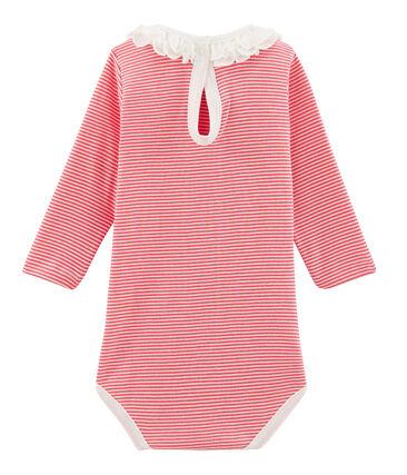 Body de manga larga lisa con cuello isabelino para bebé niña rosa Groseiller / blanco Marshmallow