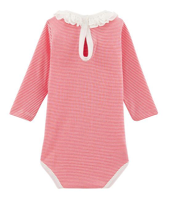 Body de manga larga lisa con cuello isabelino para bebé niña rosa Petal / azul Crystal