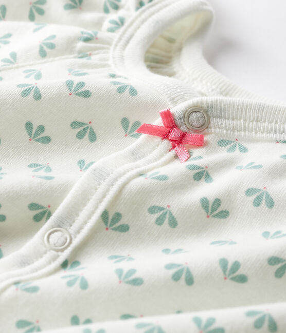 Pelele corto de punto para bebé de niña blanco Marshmallow / blanco Multico